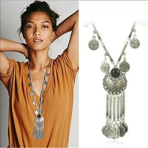 Bohemian Vintage Long Pendant silver Necklace